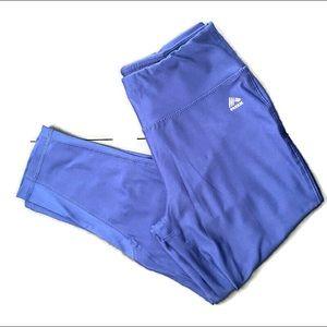 RBX blue Capri leggings with mesh detail. SZ: M